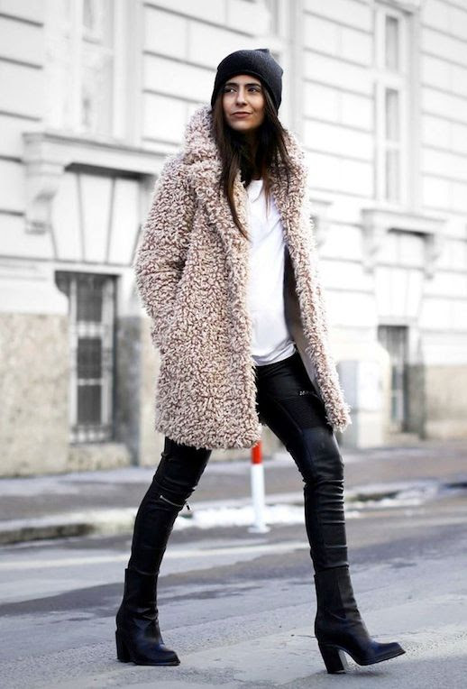 Le Fashion Blog Fall Winter Style Teddy Coat Blush Shaggy Faux Fur Coat Leather Pants Zip Knee Ankle Boots Black Beanie Via Fashion Landscape