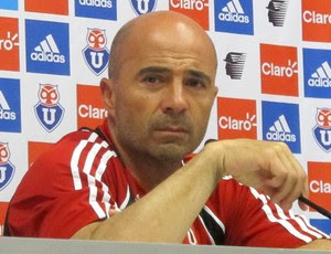 Técnico Jorge Sampaoli, do Universidad de Chile, concede entrevista coletiva (Foto: Janir Junior/Globoesporte.com)