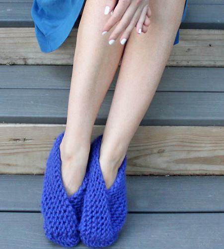 Foldover Garter Stitch Slippers