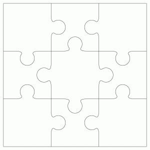 "Inovart 9-Piece Blank Puzzle, 4"" x 5-1/2"", White - 12 puzzles per ..."