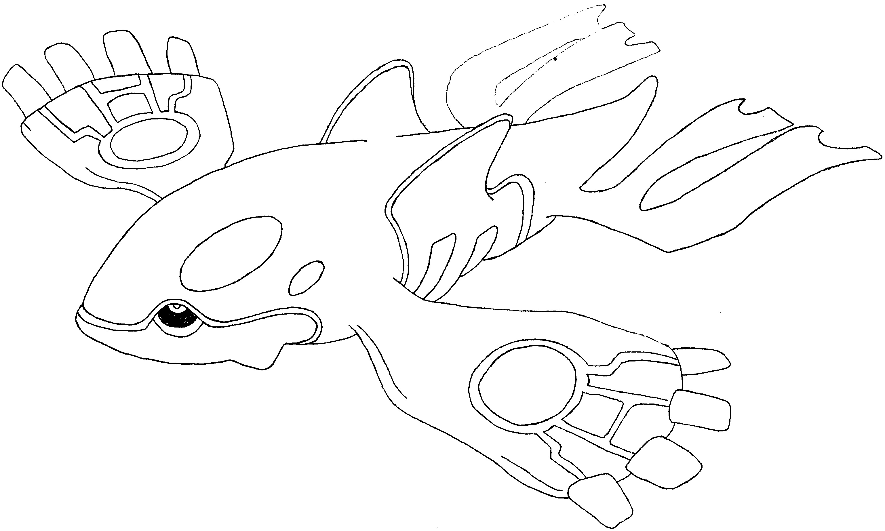 Pokemon Coloring Pages Primal Kyogre | Pokemon ausmalbilder ... | 1845x3075