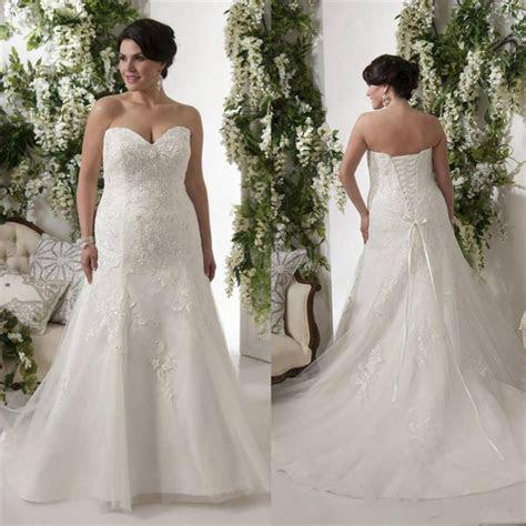 Elegant Plus Size Wedding Dresses Bodice Applique Lace