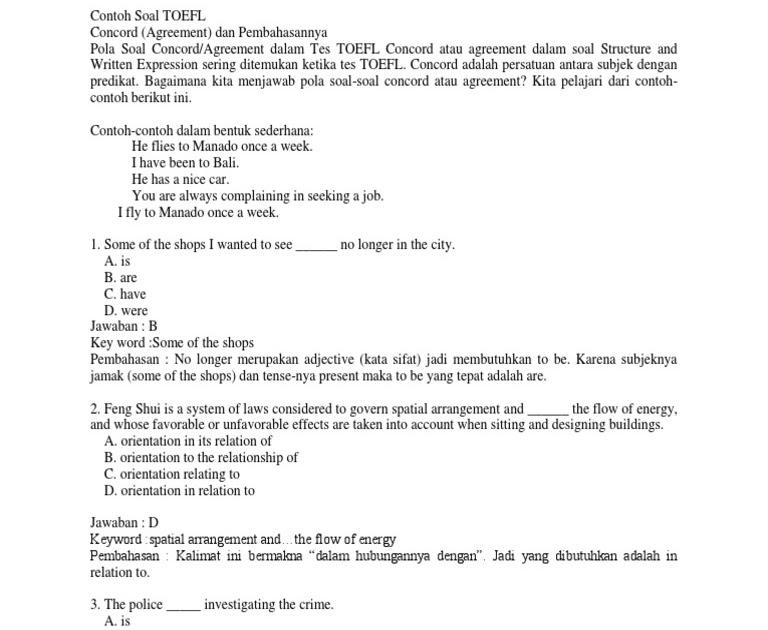 Contoh Soal Agreement Dan Jawabannya