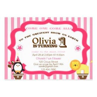 Girly 1st Birthday Circus Invitation