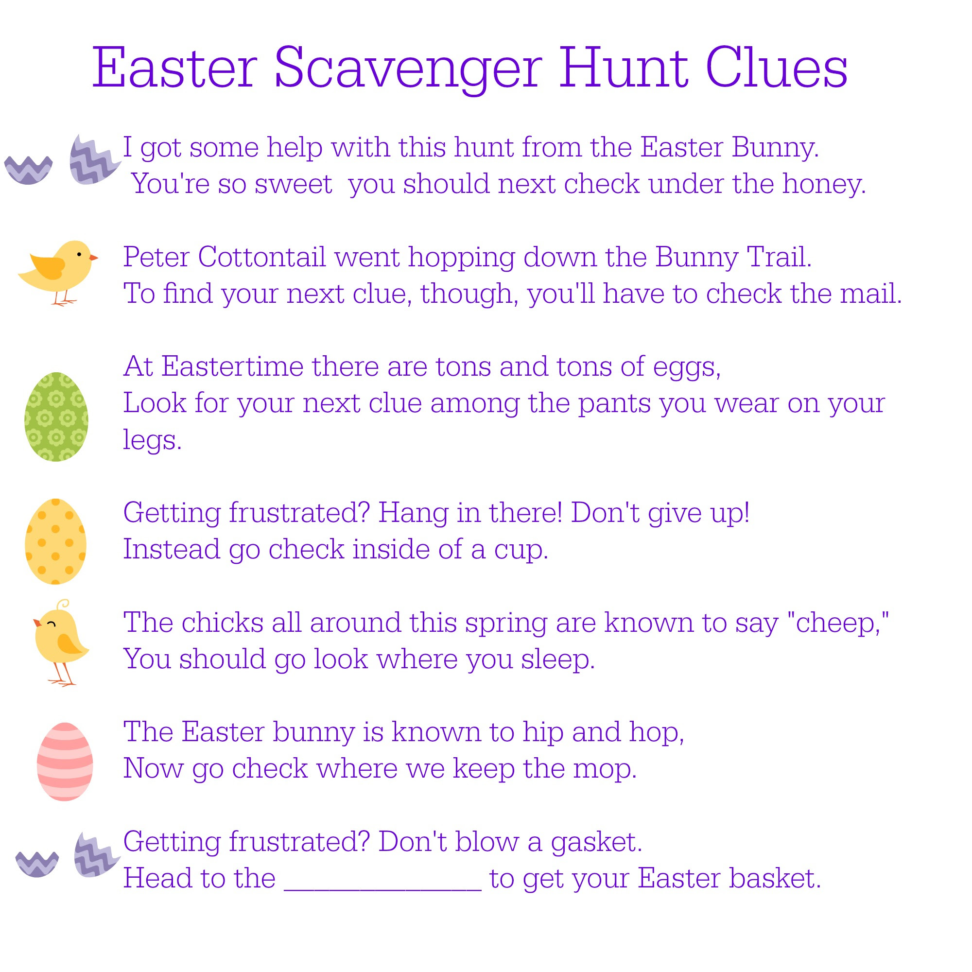 Choc Free Easter Egg Hunt Ideas Lovely Occasions