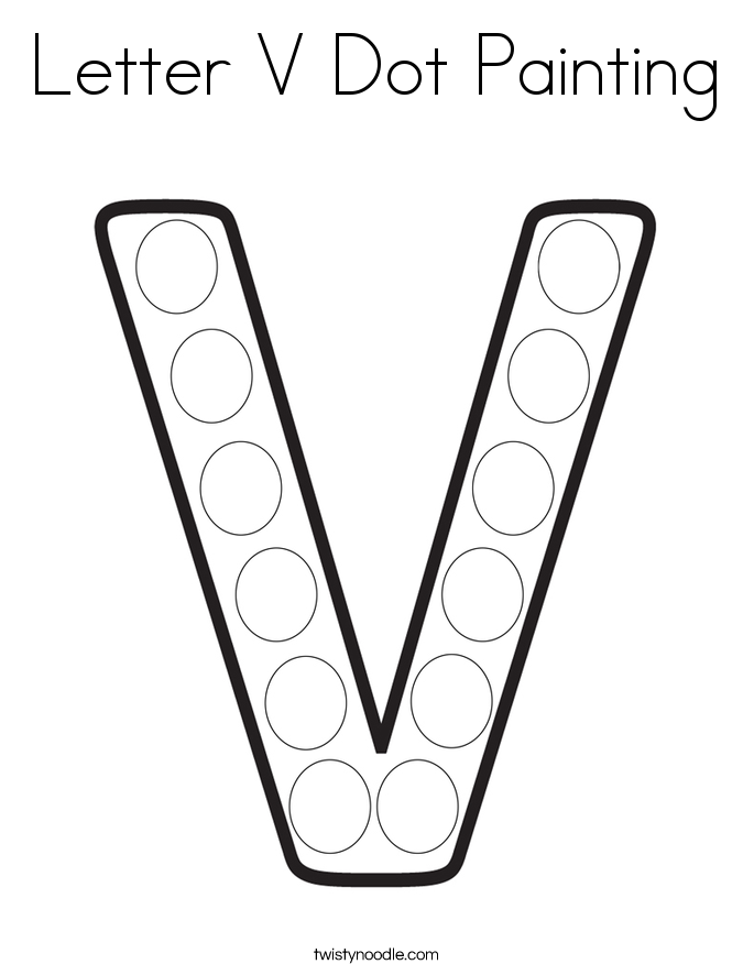 Letter V Dot Painting Coloring Page - Twisty Noodle