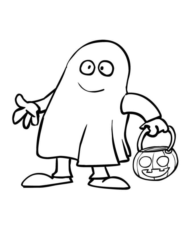 Disegno Di Fantasma Con La Zucca Da Colorare Per Bambini