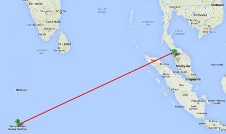A possible flight path of Flight 370, from where it was last observed on radar in Penang, to Diego Garcia.