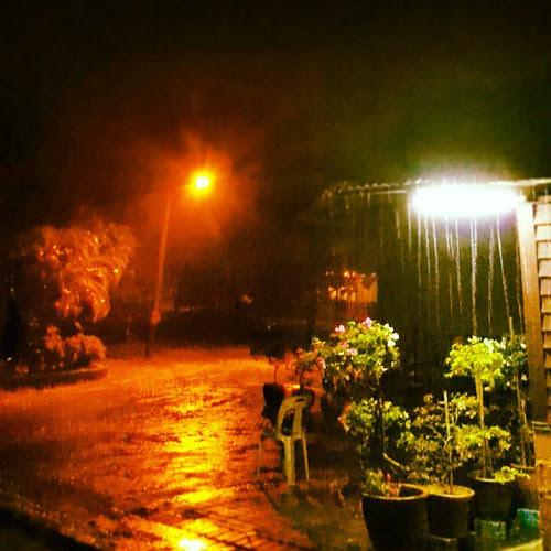 Raining heavily. Still figuring how to shoot the scene.