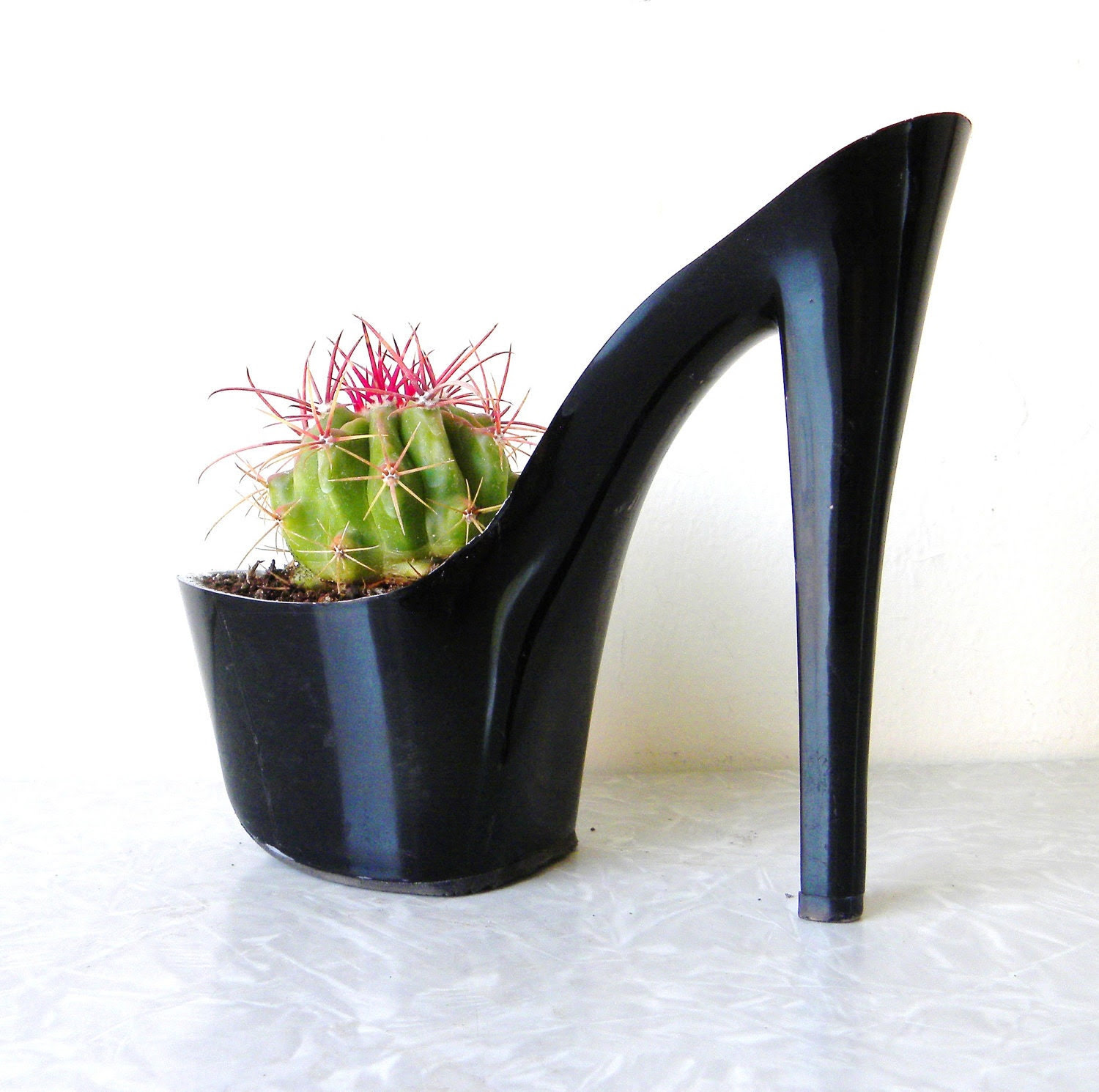 Mildred Pierce. stiletto cactus planter. eco friendly. feminist art. indoor garden fashionista