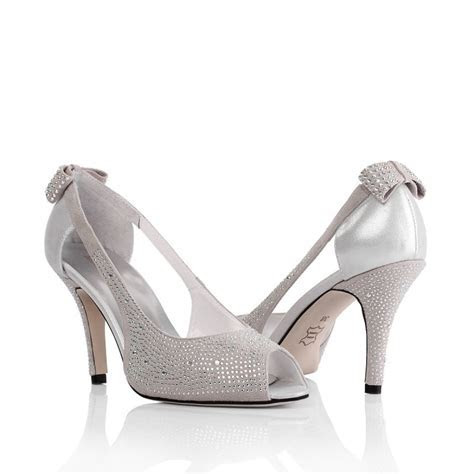 Peep Toe Mid Heel Rhinestone Bowk Grey Wedding Bridal