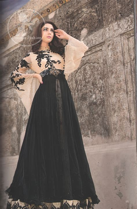 Black & Fawn Latest Semi Formal Maxi   Latest Designer