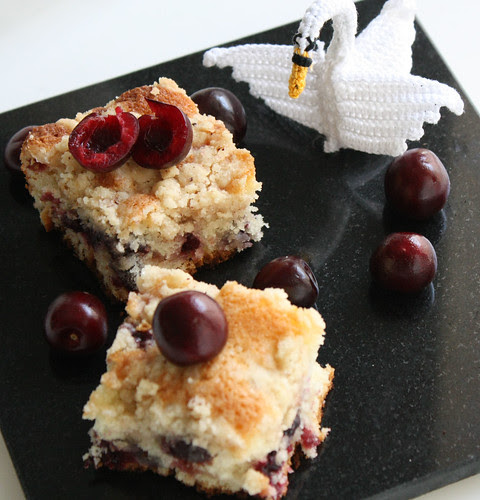 Dark Cherry Crumble Cake With Cinnamon