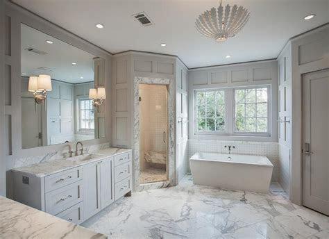 gray bathroom  corner shower contemporary bathroom