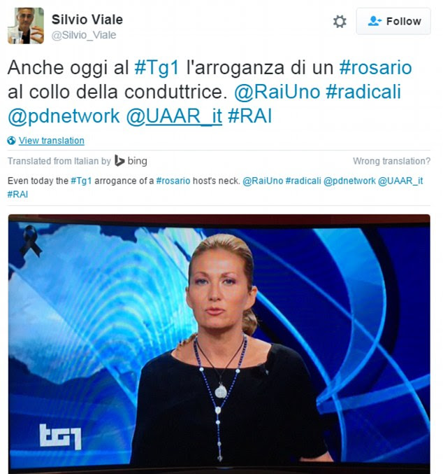 Gynaecologist Silvio Viale, a radical atheist and member of the Democratic Party in Turin referred to Ms Nalesso's 'arrogance' at wearing the religious accessories
