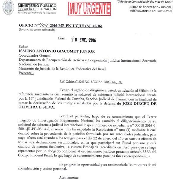 Ofício do Peru autoriza testemunahs a deporem em processo de Dirceu
