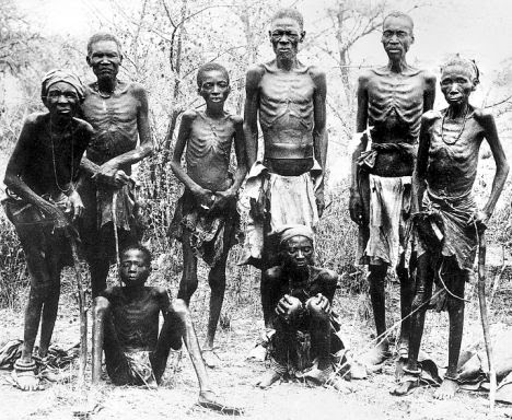 Herero men in Naimba: survivors of the world's first genocide and concentration camps in early 20th century
