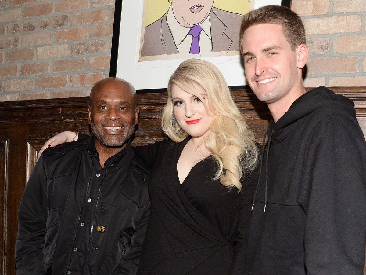 Spiegel has said he wants Snapchat to get more involved in the music business, and the company might even launch its own record label. Spiegel often tweets the music he's listening to, and it's comes from a wide range of artists. Here he poses with Epic records chairman and CEO LA Reid and singer Meghan Trainor.
