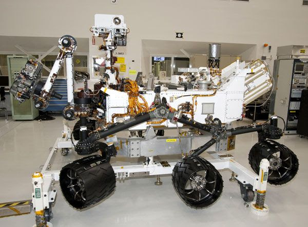 A photo of the Curiosity Mars rover, taken on April 4, 2011, at NASA's Jet Propulsion Laboratory near Pasadena, CA.