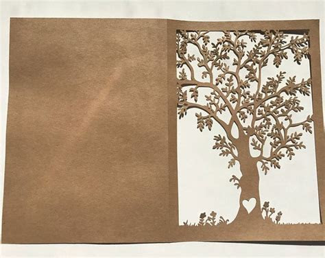 SVG file  Die Cut Rustic Birch Tree card for Invitations