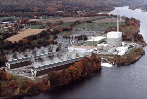 The Vermont Yankee nuclear plant in Vernon, Vt., on the banks of the Connecticut River.