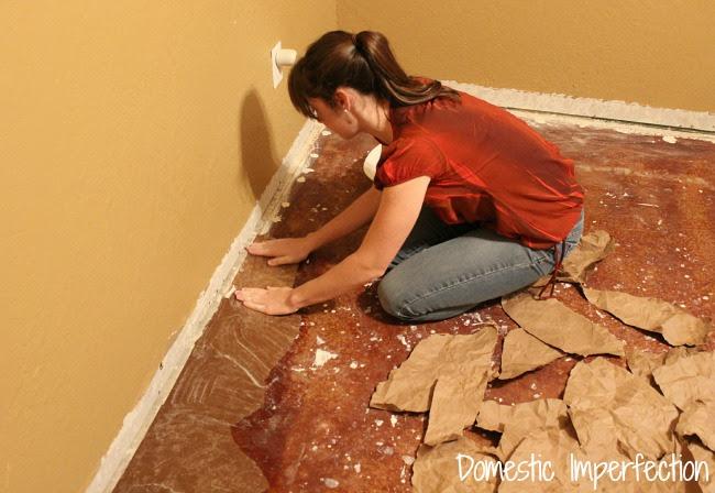 Gluing paper floor to concrete