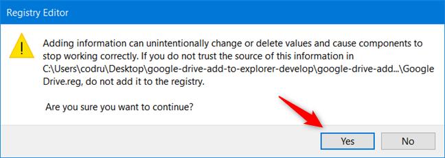 Aprobar la instalación del nuevo archivo de registro