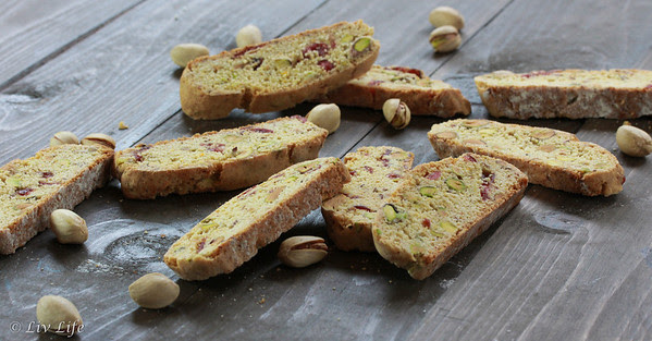 Rustic Orange Pistachio Biscotti with Cranberries