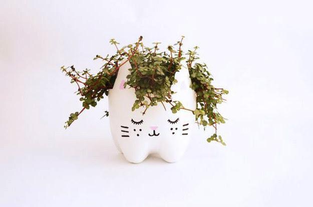 21. Цветочный горшок в виде котёнка дети, поделки, своими руками, сделай сам, творчество