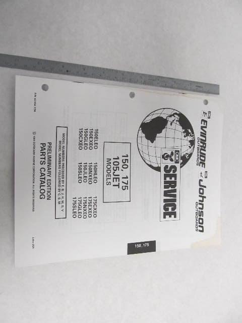 1995 Evinrude Johnson Outboard Parts Catalog 150 & 175 HP ...