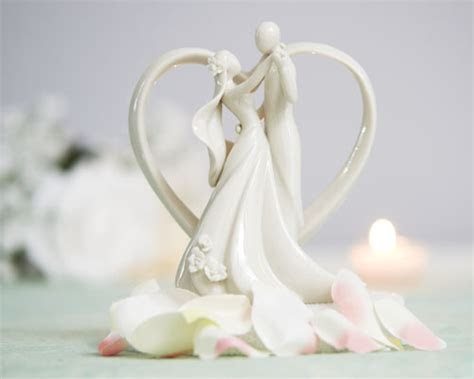 Stylized Bride and Groom with Heart Frame Figurine