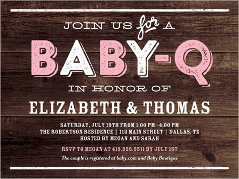 Baby Q Party Girl 4x5 Baby Shower Invitations   Shutterfly