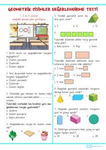 3 Sınıf Geometrik Cisimler Değerlendirme Testi Sınıf öğretmenleri