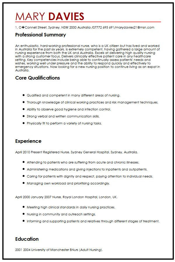 cv example for expats