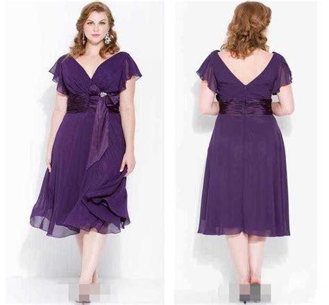 2016 Cheap Plus Size Purple Tea Length Prom Dresses V Neck
