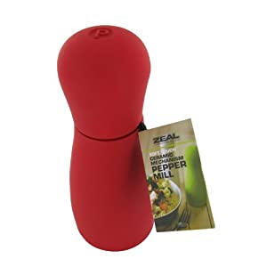 New Zeal Home Red Soft Touch Ceramic Pepper Mill Grinder Funky