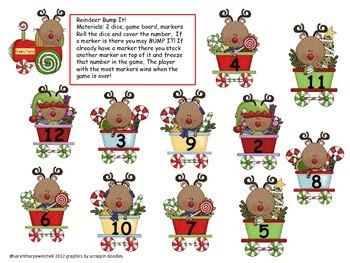 Reindeer Bump It! Math Center Common Core Kindergarten and