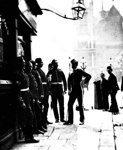 RECRUITING SERGEANTS AT WESTMINSTER, 1875