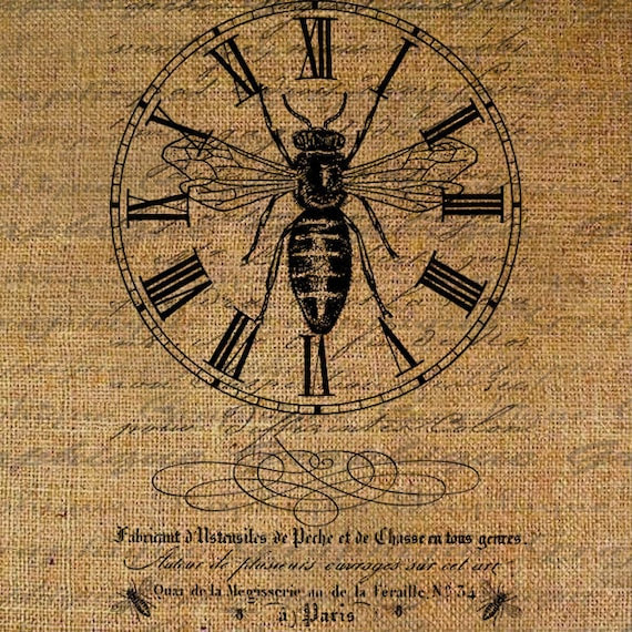 French Collage Bee Clock Queen Crown Script Address Digital Image Download Sheet Transfer To Pillows Totes Tea Towels Burlap No. 2741