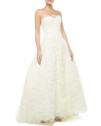 Strapless Lace Bridal Gown, Ivory by Theia at Neiman