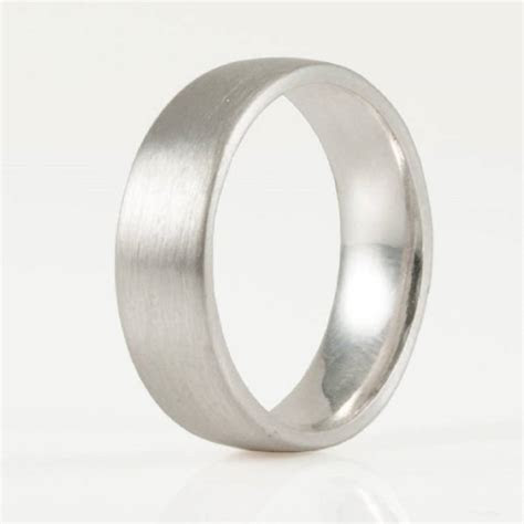 6mm brushed matte flat court silver wedding ring by