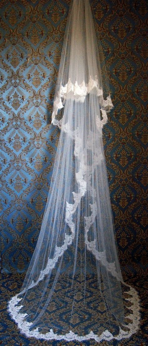 Lace Cathedral Length Blusher Veil With classic eyelash