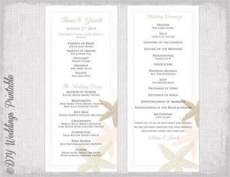 "Beach Wedding Program Template ""Starfish"" Wedding"
