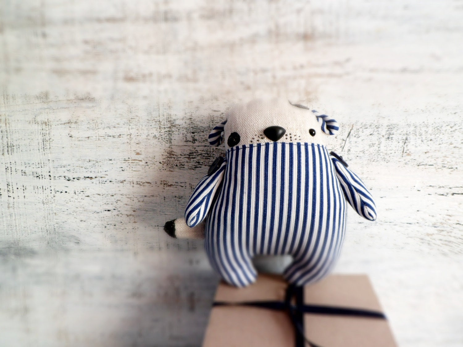 Fatsy Petsy primitive stuffed toy puppy dog navy blue white stripes 6 inches baby shower gift, nursery decor