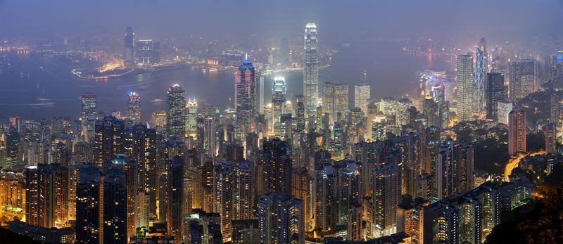 Hong Kong Skyline from Victoria Peak on Hong Kong Island