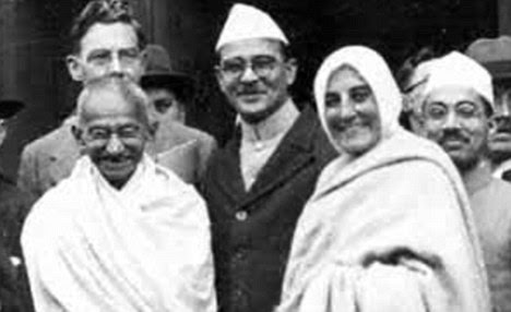 Gandhi (far left) also developed a relationship with Madeleine Slade (right)