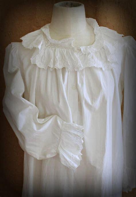 Antique Edwardian White Cotton Nightgown, Womens Vintage