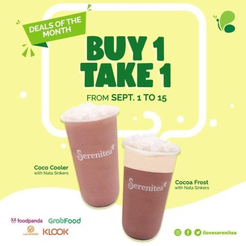 Serenitea Buy 1 Take 1 – GET 2 Cocoa Frost OR Coco Cooler with NATA sinkers for a price of one