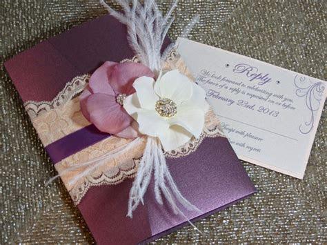 VINTAGE GLAMOUR: Lace Wedding Invitation Plum Wedding
