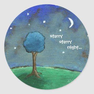 Starry Starry Night From Original Painting Round Sticker